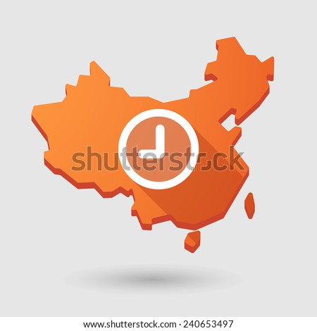 Illustration of a China map icon with a clock