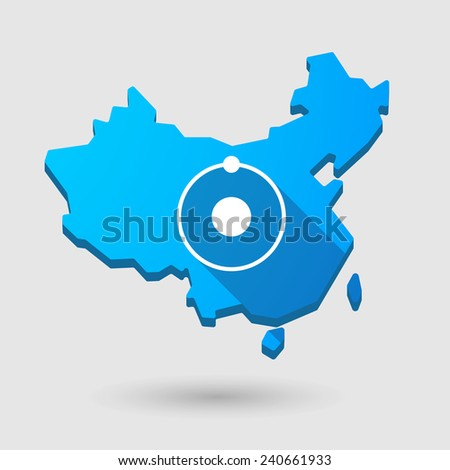 Illustration of a China map icon with an atom