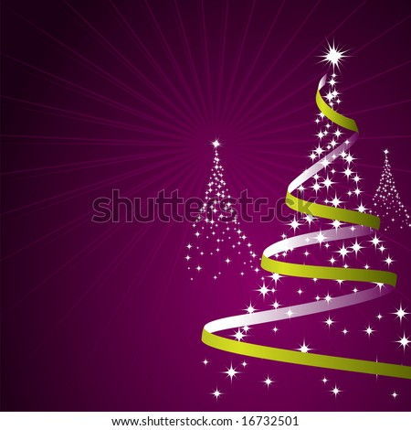 Illustration of a christmas background with trees made of stars on purple (Vector)