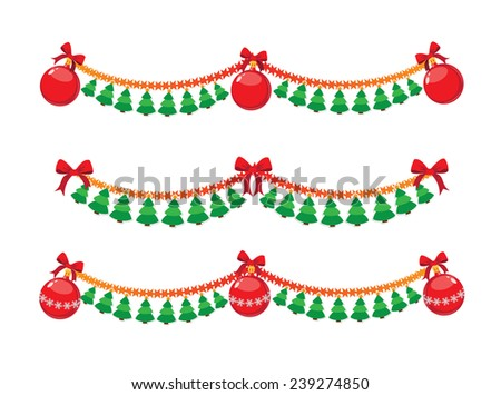 illustration of a Christmas garland - stock vector