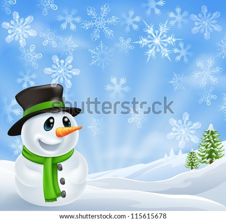 Illustration of a Christmas Snowman Scene with trees covered in snow