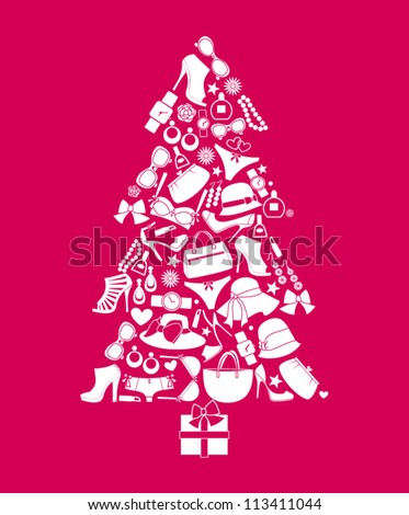Illustration of a Christmas tree made from various female fashion items. - stock vector