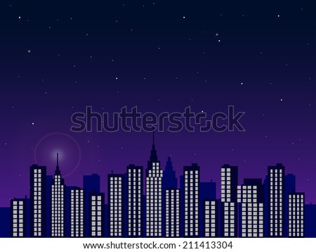 Illustration of a city skyline with a twilight sky background.