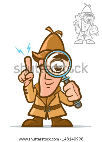 Illustration of a classic sleuth with magnifying glass/Vector Detective Cartoon Character - stock vector