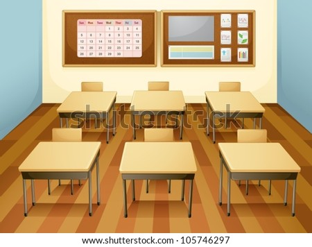 classroom table vector. illustration of a classroom with table and chairs vector r