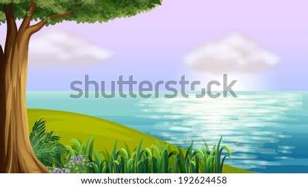 Illustration of a clear blue sea