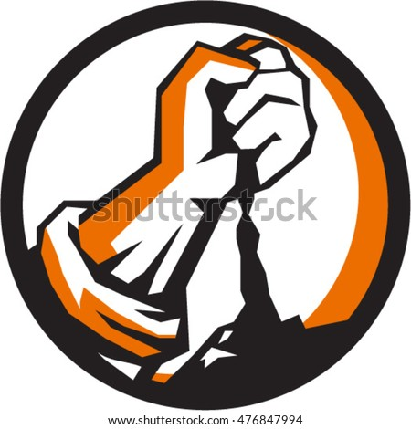 Illustration of a clenched fist pouring dirt viewed from front set inside circle done in retro style.