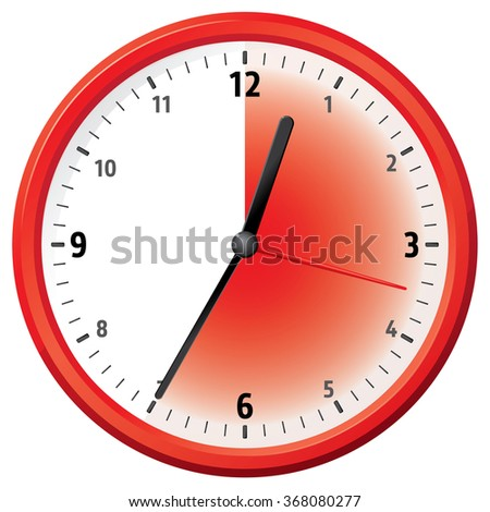 Illustration of a clock at thirty-five minutes. Can be used in ads and institutional