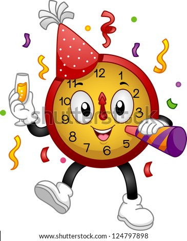 Illustration of a Clock Mascot Wearing a Party Hat and Using a Noise Maker to Celebrate New Year - stock vector