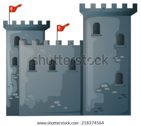illustration of a close up castle - stock vector
