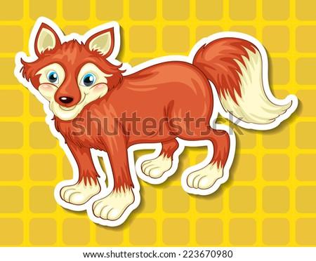 Illustration of a close up fox - stock vector