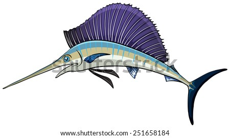 Illustration of a close up swordfish - stock vector