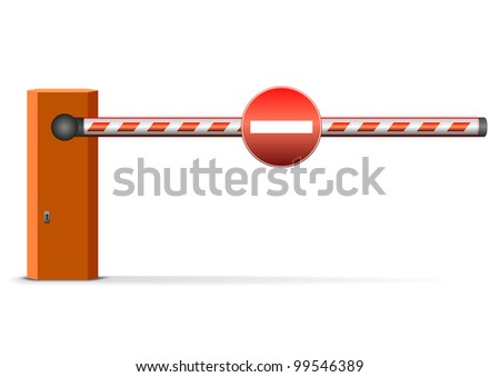 illustration of a closed car barrier with sign