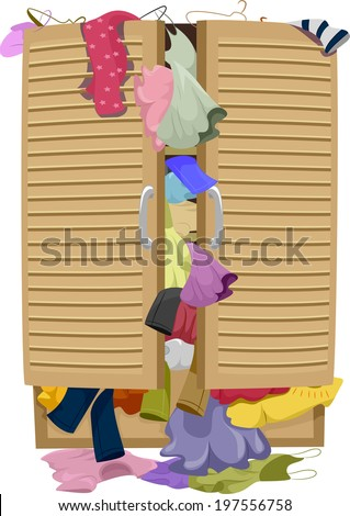 Illustration of a Closet Overflowing with Clothes - stock vector