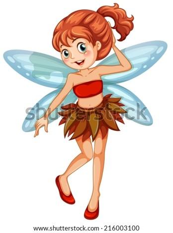 Illustration of a closeup fairy - stock vector