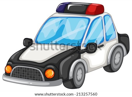 Illustration of a closeup police car - stock vector