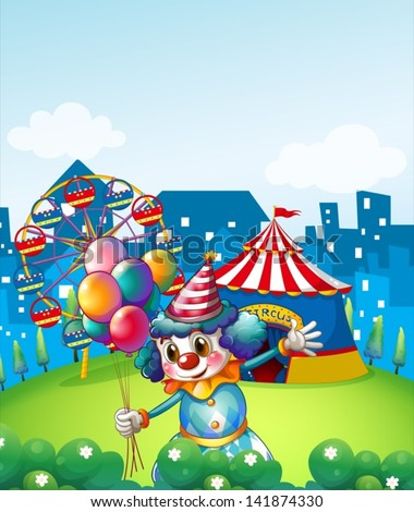 Illustration of a clown at the carnival with balloons - stock vector