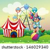 Illustration of a clown balancing above an inflatable ball at the carnival - stock vector