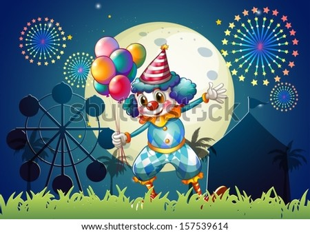 Illustration of a clown with balloons standing in front of the carnival - stock vector