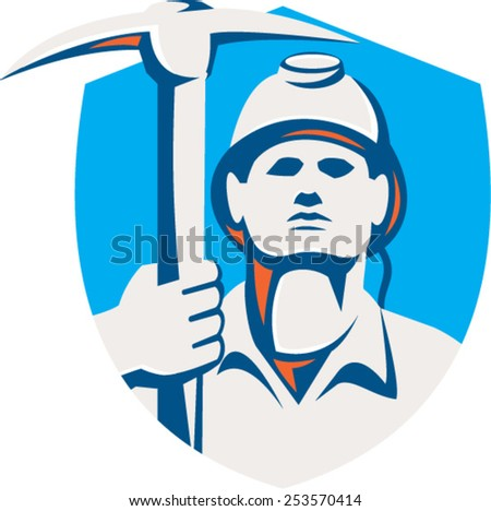 Illustration of a coal miner wearing hardhat holding pick axe striking facing front set inside shield crest done in retro style. - stock vector