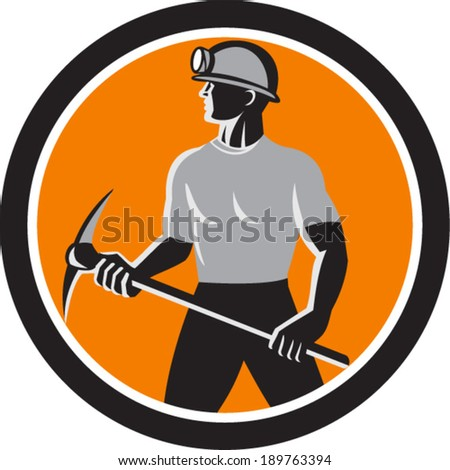 Illustration of a coal miner wearing hardhat with pick axe facing front set inside oval done in retro style. - stock vector