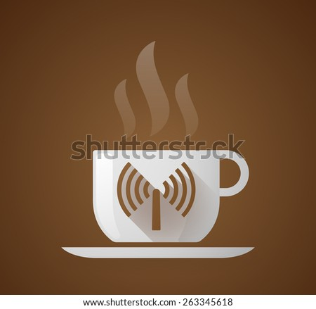 Illustration of a coffee cup with an antenna - stock vector