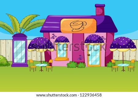 Illustration of a coffee house in a beautiful nature