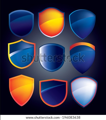 illustration of a collection of buttons badges and shield icons - stock vector