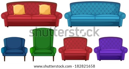 Illustration of a collection of different chairs on a white background - stock vector