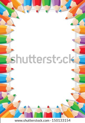 illustration of a color pencils frame - stock vector