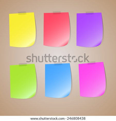 Illustration of a colored set of sticky notes, colored set of sticky notes