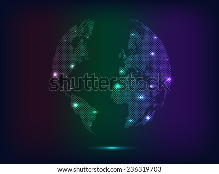 Illustration of a colorful abstract glowing world map background.