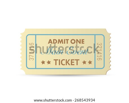 Illustration of a colorful admit one ticket isolated on a white background. - stock vector