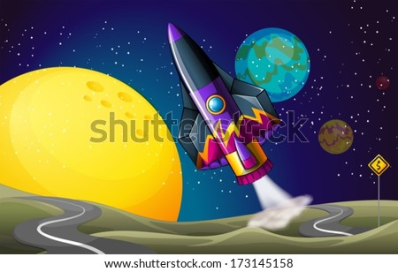 Illustration of a colorful aircraft near the moon - stock vector