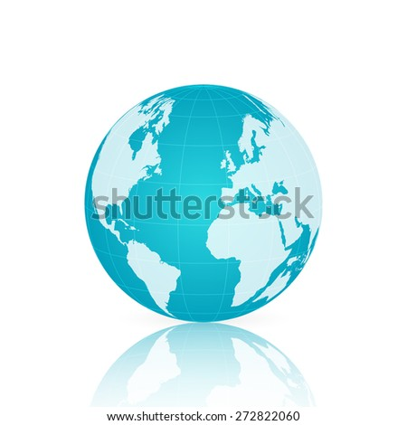 Illustration of a colorful blue world globe isolated on a white background. - stock vector