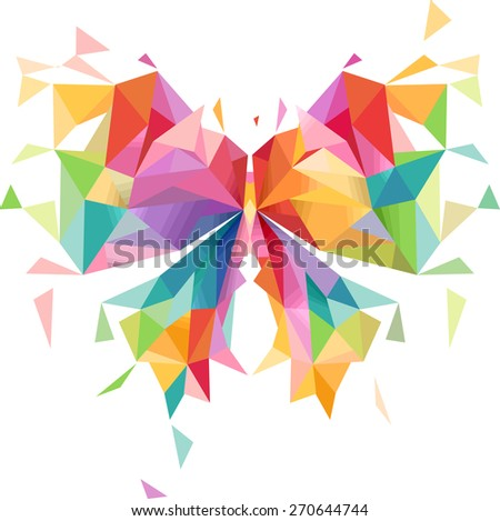 Illustration of a Colorful Butterfly with a Geometric Design - stock vector