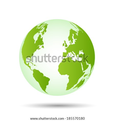 Illustration of a colorful green world globe isolated on a white background.