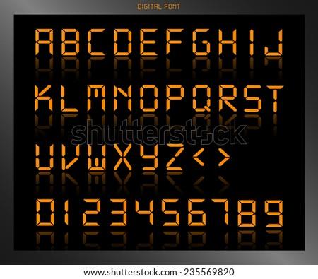 Illustration of a colorful orange digital font. - stock vector