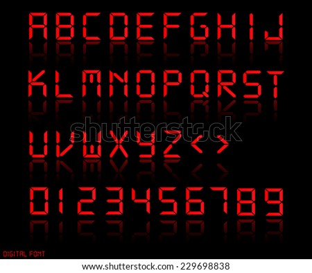 Illustration of a colorful red digital font. - stock vector
