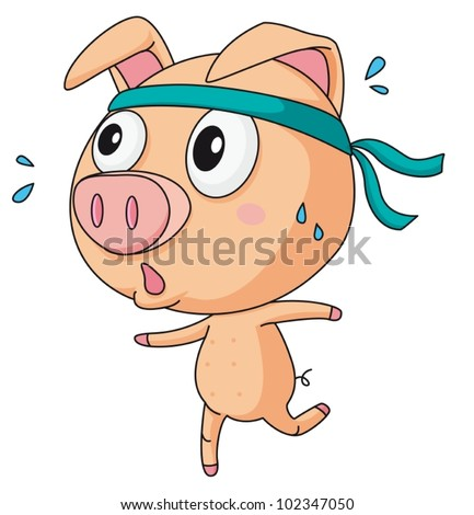 Illustration of a comical pig - stock vector