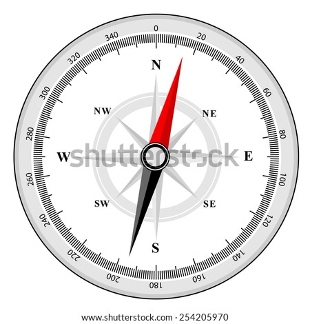 Illustration of a compass with all directions north east south and west isolated on white background. - stock vector