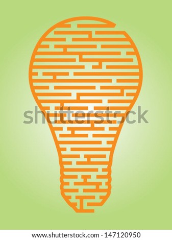 Illustration of a complex maze of ideas in a light bulb shaped outline/Vector Light Bulb Maze - stock vector