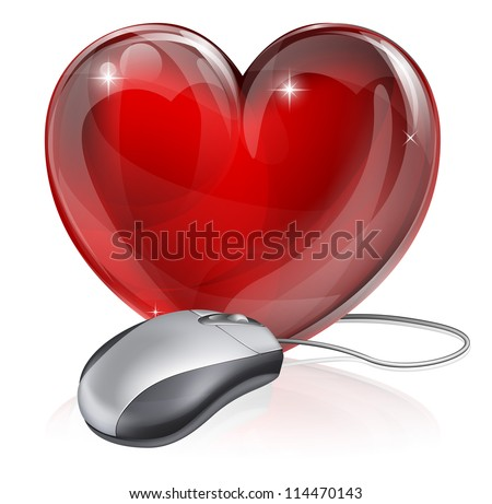 Illustration Computer Mouse Connected Red Heart Stock Vector Hd