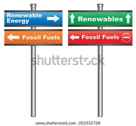 Illustration of a conceptual signboard about renewable energy sources vs fossil fuels - stock vector