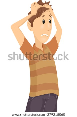 Illustration of a Confused Man Tearing His Hair Apart - stock vector