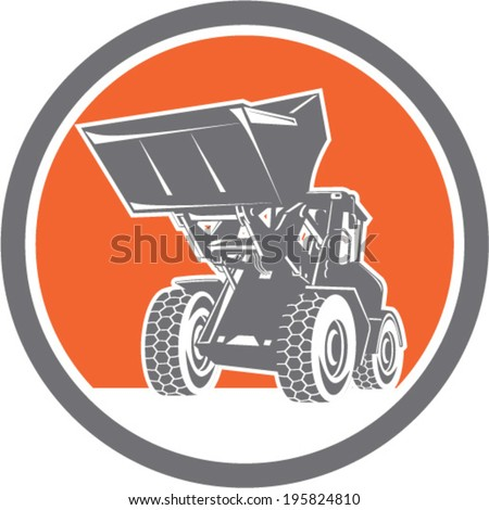 Illustration of a construction front end loader digger excavator viewed from front set inside circle done in retro style . - stock vector