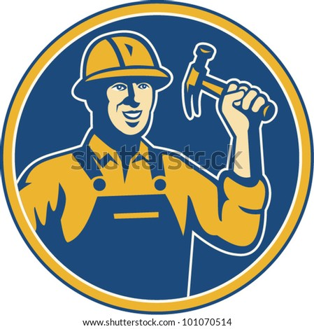 Illustration of a construction worker tradesman laborer wielding a hammer set inside circle done in retro style. - stock vector