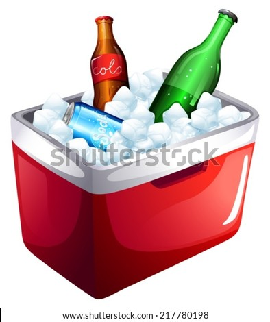Illustration of a cooler with softdrinks on a white background  - stock vector