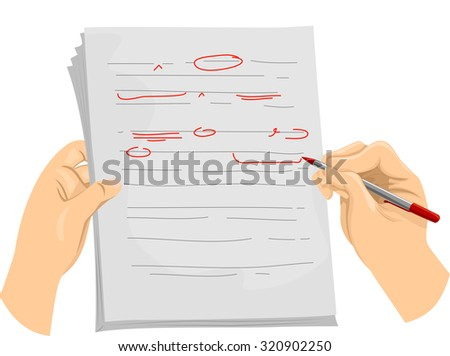 Illustration of a Copy Editor Writing Proofreading Symbols on a Document - stock vector