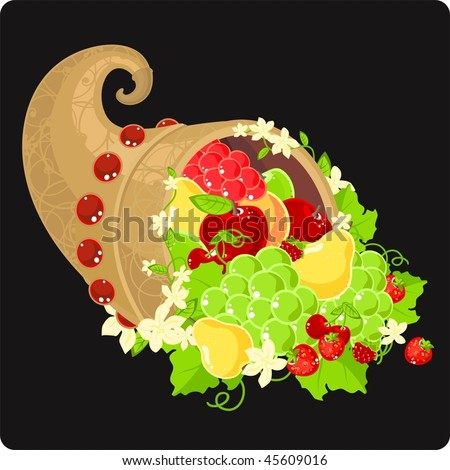 Illustration of a cornucopia filled with fruit and decorated with flowers - stock vector
